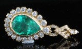 18kt emerald and diamond pendant approx. 4.50ct
