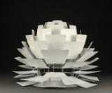 Poul Henningsen. Pendant lamp, 'Artichoke', with 72 leaves in white-varnished steel, Ø 60 cm.