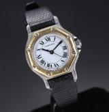 Cartier 'Santos Lady'. Dameur i 18 kt. guld og stål med hvid skive, 1990'erne