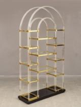 Bookshelves / shelves in plexiglass, Maison Jansen, brass on black plexi base, Italy, 1970-80s