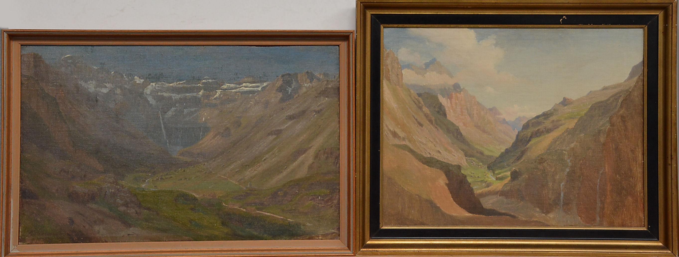 Eiler Rasmussen Eilersen. Partier fra Pyrenæerne. To olie på lærred - Parti fra Pyrenæerne med bjerge og huse, af Eiler Rasmussen Eilersen (1827-1912). To olie på lærred. Det ene sign. 32 x 42 cm (39 x 49 cm.) og 32 x 49 cm. (34 x 52 cm.)