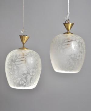 Ett par taklampor i glas, 1940-tal 2