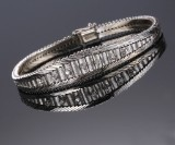 Zoccai. Vintage 18 kt. white gold bracelet with brilliant-cut diamonds, c. 1960's