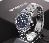 Tag Heuer 'Aquaracer 500m'. Men's chronograph, steel, with black dial, certificate 2014