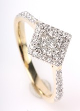 Brilliant-cut diamond ring, 14 kt. rhodium-plated gold, approx. 0.35 ct.