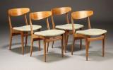 Dansk møbelproducent. Spisestole, teaktræ, 1960'erne (4)
