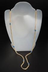 Flad panserkæde med lapis lazuli 14 kt. guld ca. 37 g