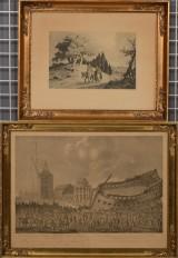 Poul Steffensen og Ubekendt Kunstner, radering samt tryk, Nyholms skændsel og religiøst sceneri (2)