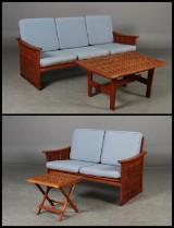 Kircodan lounge havemøbler. To samt tre pers. sofa, sofabord samt sidebord. Teak (4)