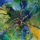 Bozena Ossowski, mixed-media på lærred, 'Garden of love'