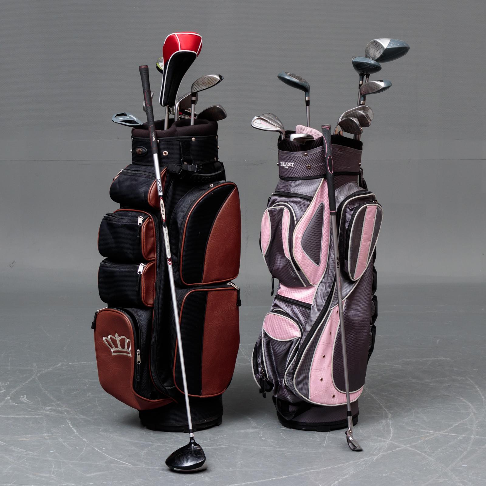 To golfsæt - To golfsæt af mærket Spalding SP 88 og Beast Discovery. Spalding sættet består af driver 12 grader (anslået), 3 wood 19 grader, 4 wood 24 grader hybrid 17 grader, S-P-8-7-6 jern putter samt bag. Beast sættet består af driver 12 grader...
