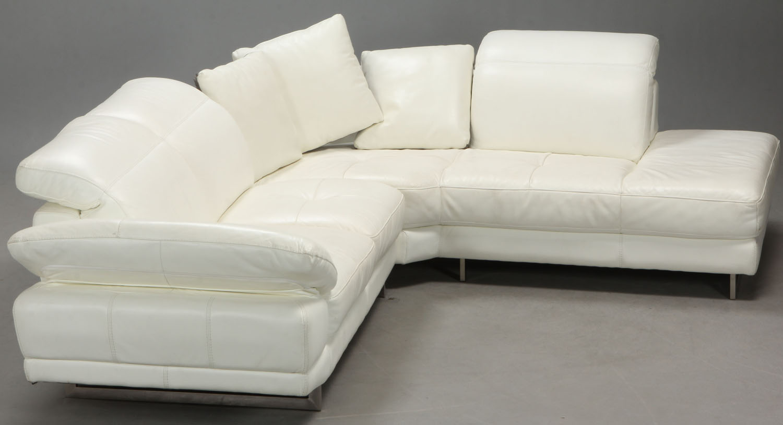 Picture of: Sofa Hjornearrangement Med Chaiselong I Hvidt Laeder Lauritz Com