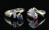 2 zirconia and sapphire, ruby rings in 18kt