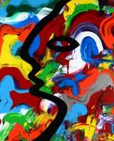 Olof Wressmark, akryl på lærred, komposition 'Woman walking home', cd