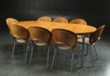 Nanna Ditzel. Eight Trinidad chairs and a Tobago table with extension leaves (11)