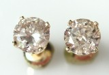 Et par brillantøreskruer af guld - ca. 1,51 ct.