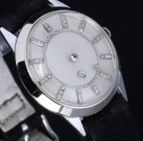 LeCoultre 'Mystery Dial'. Vintage men's watch, 14 kt. white gold with diamond dial, c. 1950s