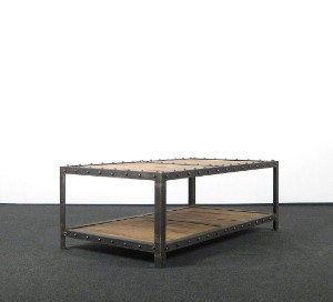 Industrial Design Coffee Table Sofatisch In Stahl Und Holz