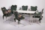 Gartenmöbel, Tisch mit vier Stühlen und eine Bank, weiß lackiertes Eisengestell (6)