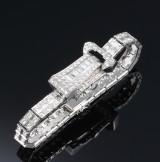Art Deco diamond bracelet with concealed watch, 950 platinum, diamonds total approx 8.85 ct