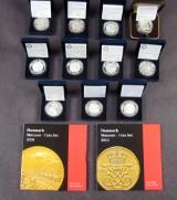 Danmark jubilæumsmønter samling i sølv m.v.