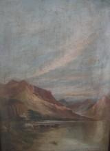 Unbekannter Künstler, Öl auf Platte, Berglandschaft