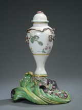 A tall Marieberg potpourri vase, faience, Sweden 1766