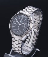 Omega 'Speedmaster Reduced Moon Watch' men's chronograph, steel, black dial, c. 2000