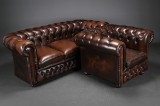 Chesterfield sofa and easy chair (2)
