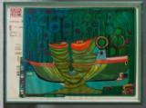 Friedensreich Hundertwasser. 'Kolumbus. Regentag in Indien' (1971/72). Farveserigrafi