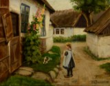 H. A. Brendekilde. Village lane with little girl and dog outside farmhouse with hollyhocks