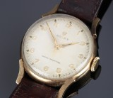 Vintage Rolex 'Shock-Resisting' men's watch, 9 kt. gold, pale dial, c. 1957