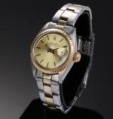 Rolex Date ladies' watch, 18 kt. gold and steel, date, c. 1977