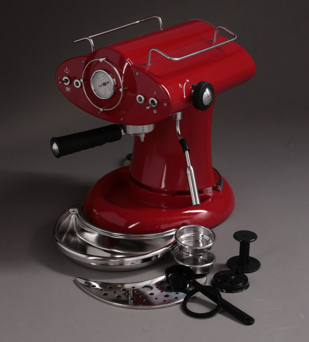 Espresso Cappucino maskin i röd retro stil