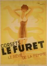 Roger Pérot, litografisk plakat, 'Corset le Furet - La Rêve de la Femme'