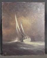 Oidentiferad konstnär, olja på duk, skeppsmotiv