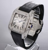 Cartier 'Santos 100'. Automatic men's watch, steel, with diamonds