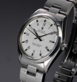 Rolex 'Oyster Perpetual'. Vintage men's watch, steel, with white dial, c. 1972