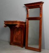 Senempire spejl samt konsol af mahogni (2)