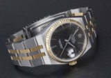 Rolex. Oysterquartz Datejust gold men's watch, 18 kt. gold and steel, Ref. 17013, c. 1987