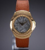 Rare Crum 'Meteorite' men's watch, 18 kt. gold, meteorite dial, 1990's
