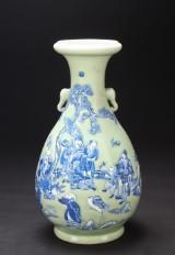 Kinesisk vase af porcelæn med celadonlasur, 1800-tallet
