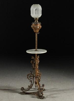 Vara: 3977427 Lampa / bord, metall, marmor skiva, glaskupa ...