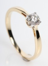 Solitairering fra FHP,14 kt. guld,  0.30 ct.