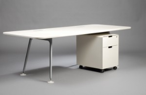 jasper morrison schreibtisch atm desk 220 mit rollcontainer f r vitra 2. Black Bedroom Furniture Sets. Home Design Ideas