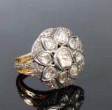 Vintage ring, 14k gold with diamonds, approx. 9.00ct, France