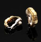 Roberto Coin. Et par ovale Italienske øreklips med stikker af 18 kt. guld. (2)