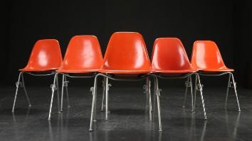 Charles Eames. Seks skalstole, glasfiber, model DSS (6