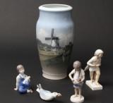 Royal Copenhagen/B&G. Figurer samt vase (5)
