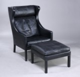 Børge Mogensen. Wing chair with matching footstool (2)
